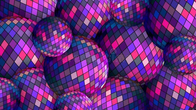 Fondo lilla blu magenta delle sfere di cristallo 3d del mosaico royalty illustrazione gratis