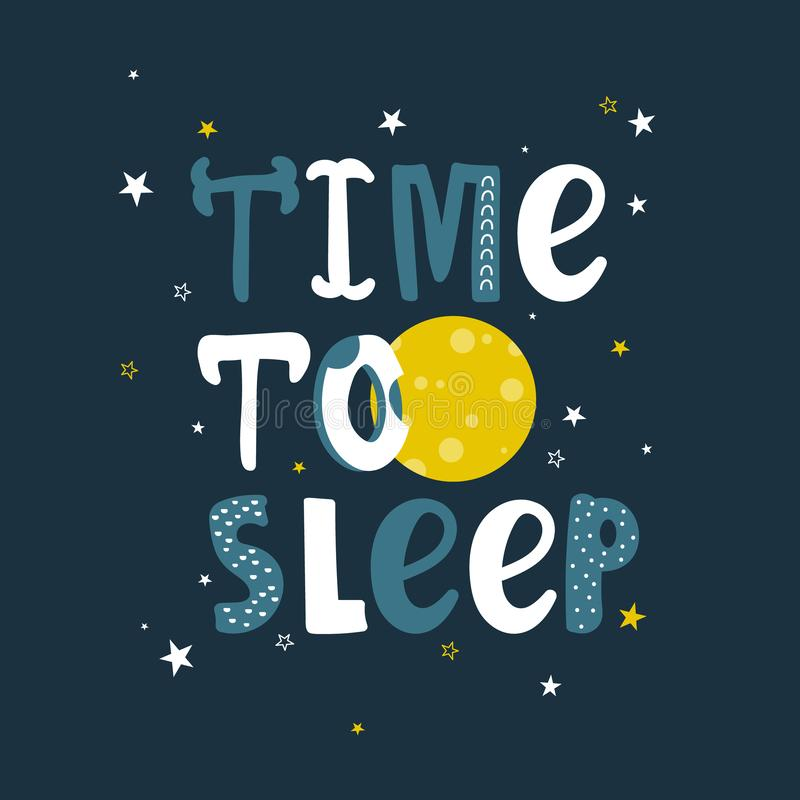 Fondo lindo colorido con la luna, las estrellas y el texto ingl?s Hora de dormir, desig del cartel stock de ilustración