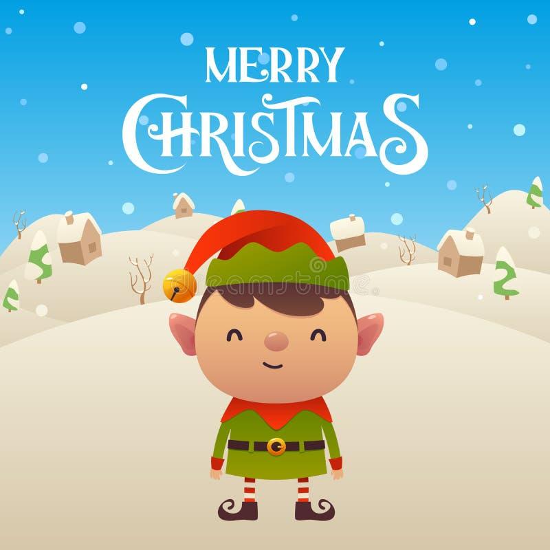 Fondo lindo de la Feliz Navidad del carácter del duende de la historieta stock de ilustración