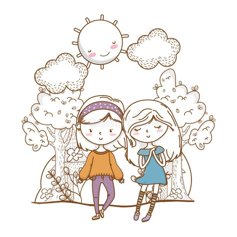 Fondo lindo de la naturaleza de los amigos de muchachas de los pares stock de ilustración