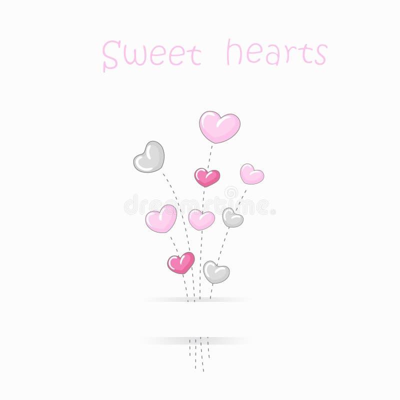 Fondo lindo de los corazones stock de ilustración