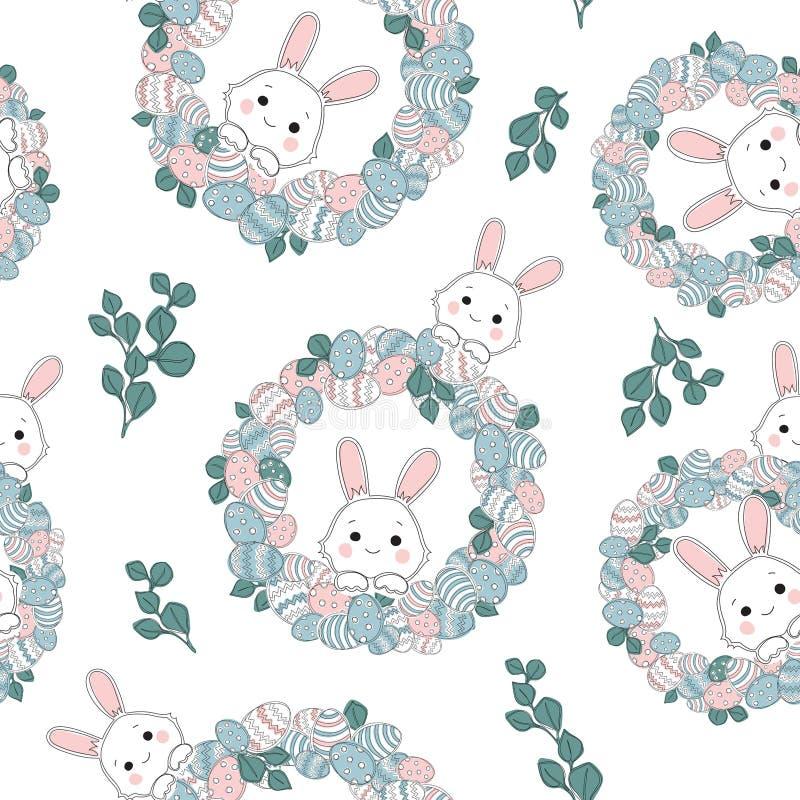 Fondo lindo de Pascua del parche con los huevos en jerarquía libre illustration