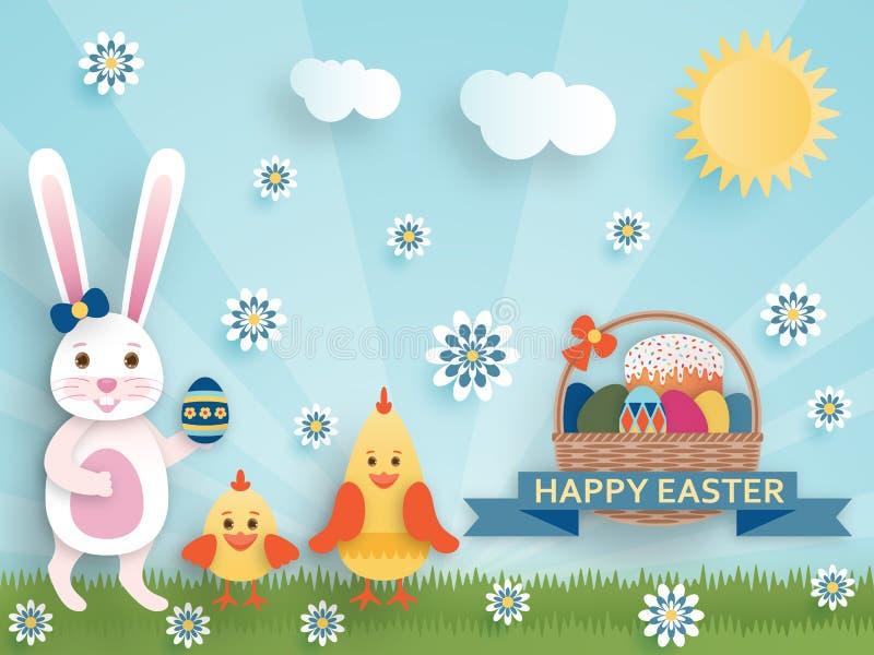 Fondo lindo de Pascua en el estilo de papel del arte stock de ilustración