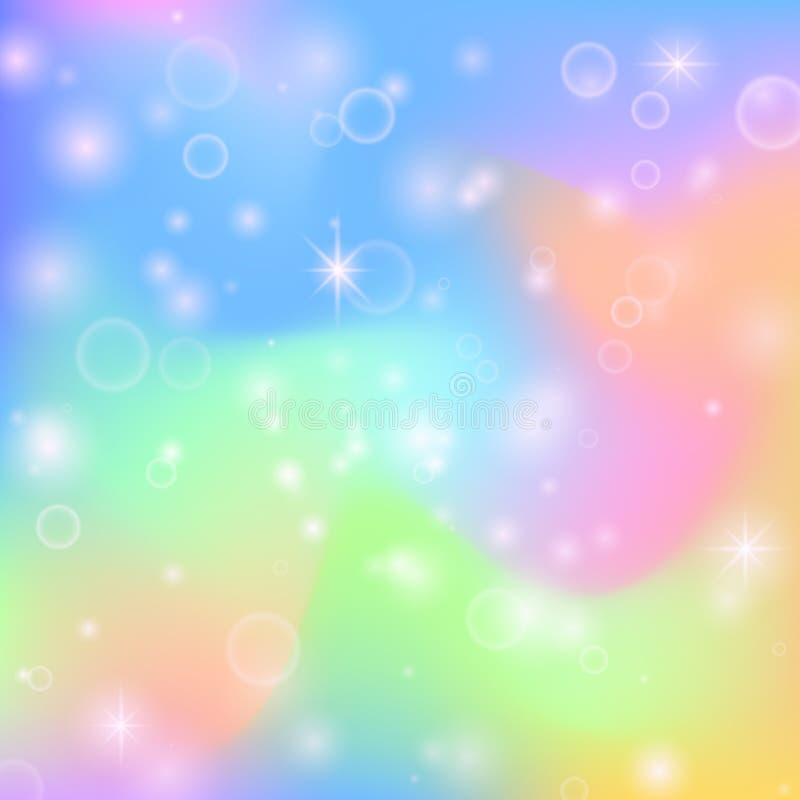 Fondo lindo del arco iris de hadas de la princesa con las estrellas de la magia y la textura nacarada Vector multicolor del extra ilustración del vector