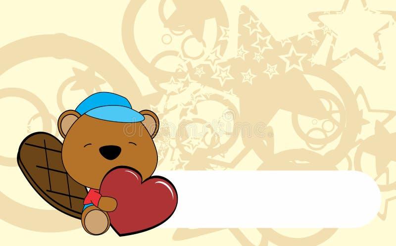 Fondo lindo del corazón del abrazo de la historieta de la tarjeta del día de San Valentín del castor del bebé stock de ilustración