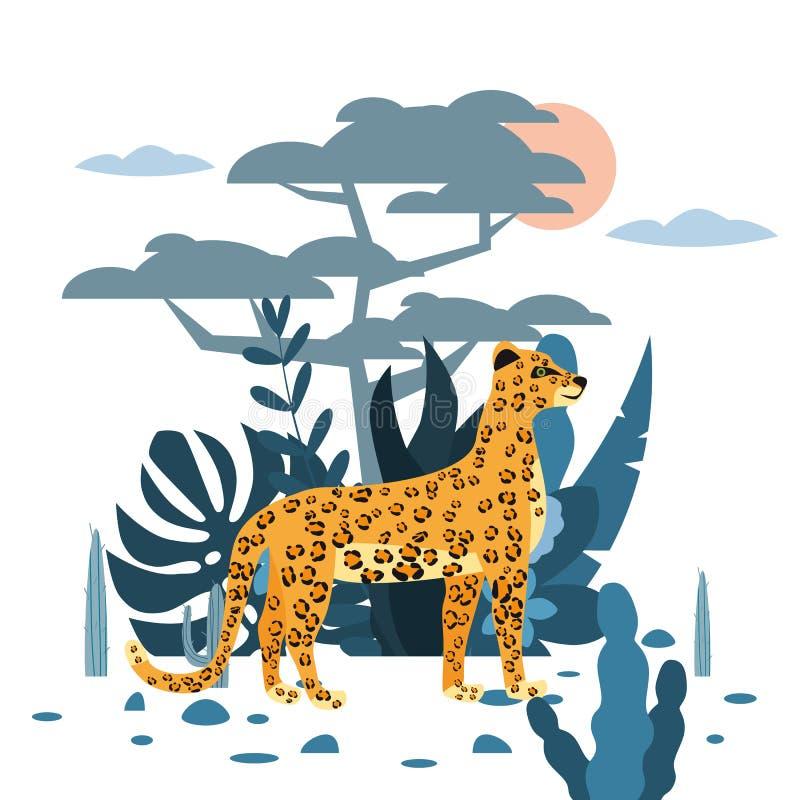 Fondo lindo del leopardo, de la planta y del ?rbol, estilo gr?fico de la tendencia, mam?fero despredador animal, selva Vector, ej stock de ilustración