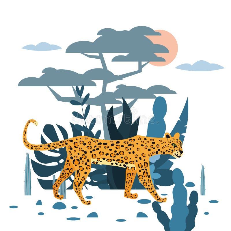 Fondo lindo del leopardo, de la planta y del ?rbol, estilo gr?fico de la tendencia, mam?fero despredador animal, selva Vector, ej libre illustration