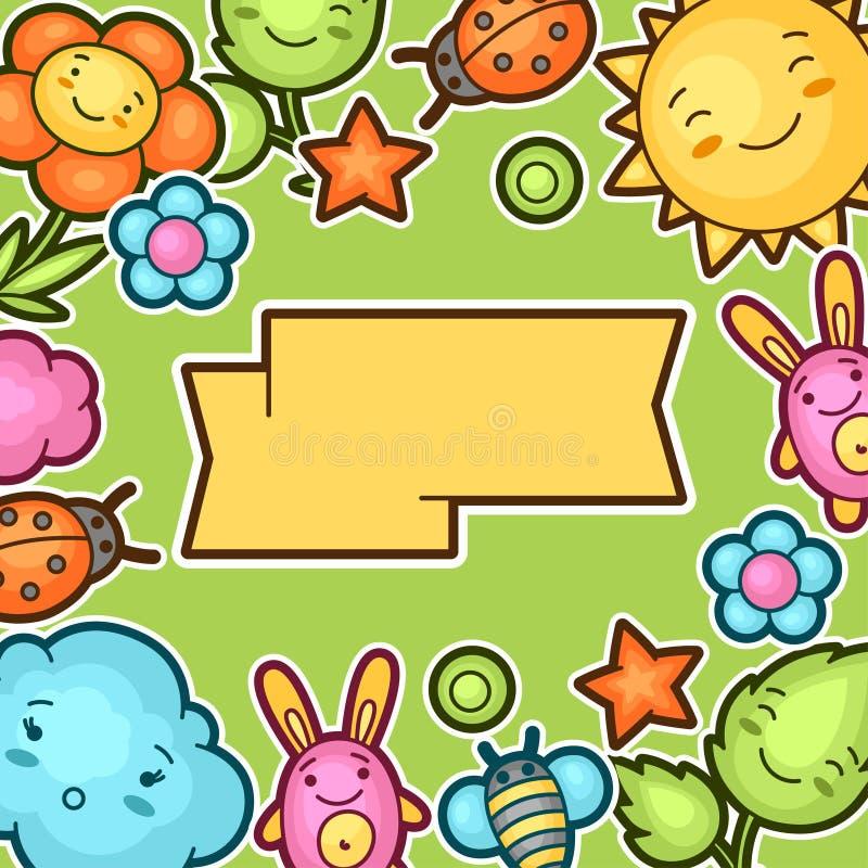 Fondo lindo del niño con garabatos del kawaii Colección de la primavera de personajes de dibujos animados alegres sol, nube, flor ilustración del vector