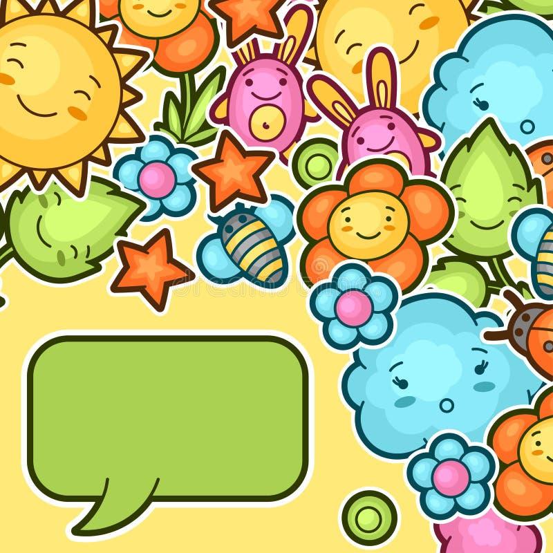 Fondo lindo del niño con garabatos del kawaii Colección de la primavera de personajes de dibujos animados alegres sol, nube, flor stock de ilustración