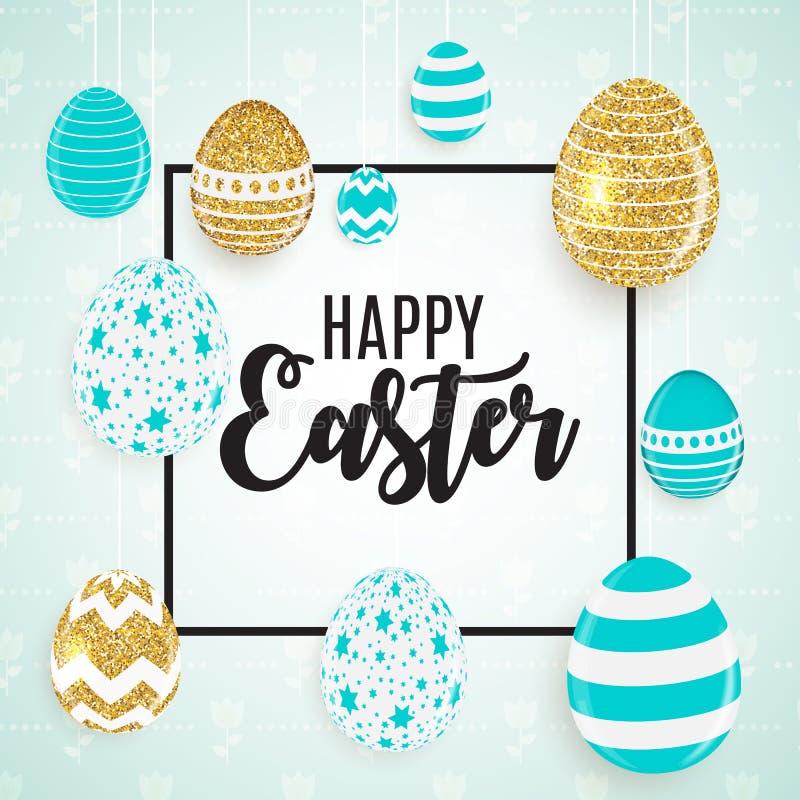 Fondo lindo feliz de Pascua con los huevos Ilustración del vector ilustración del vector