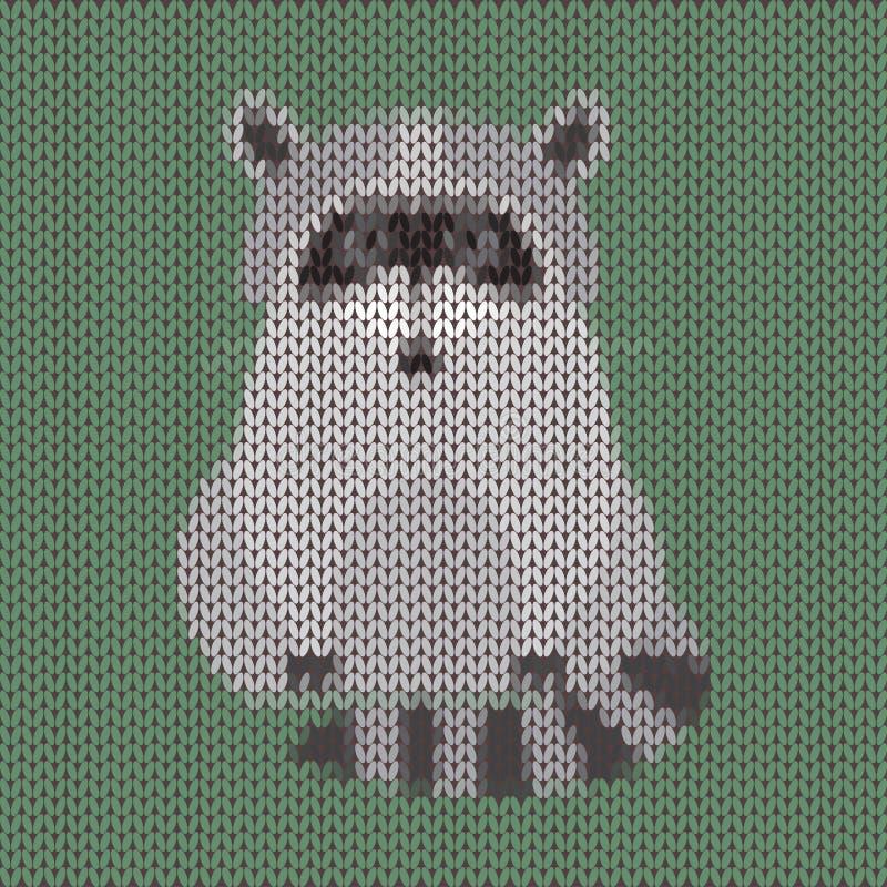 Fondo lindo hecho punto del vector del mapache de la historieta divertida ilustración del vector