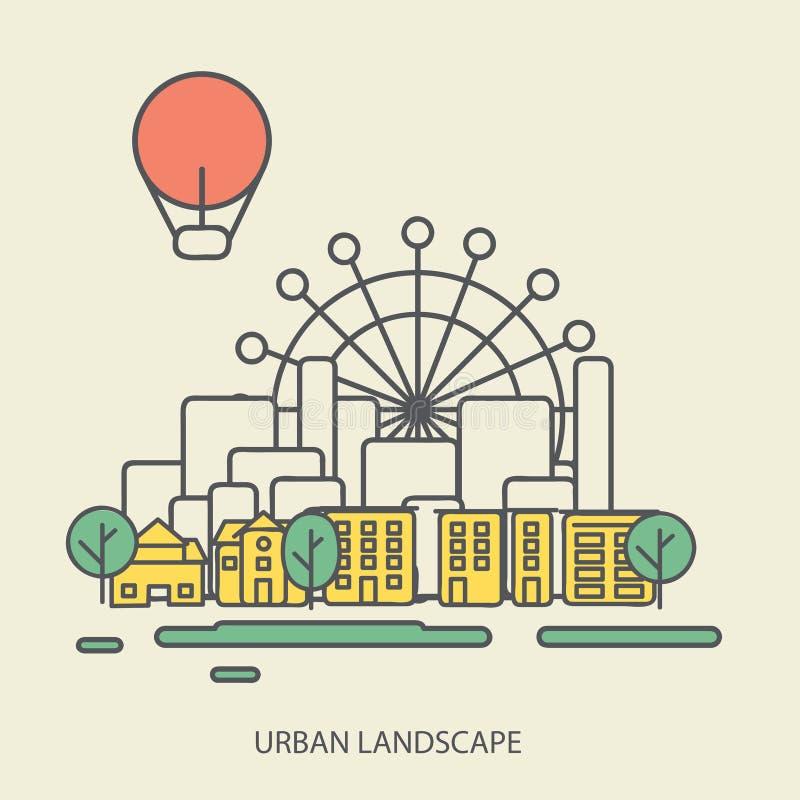 Fondo linear con el paisaje urbano, un elegante ilustración del vector