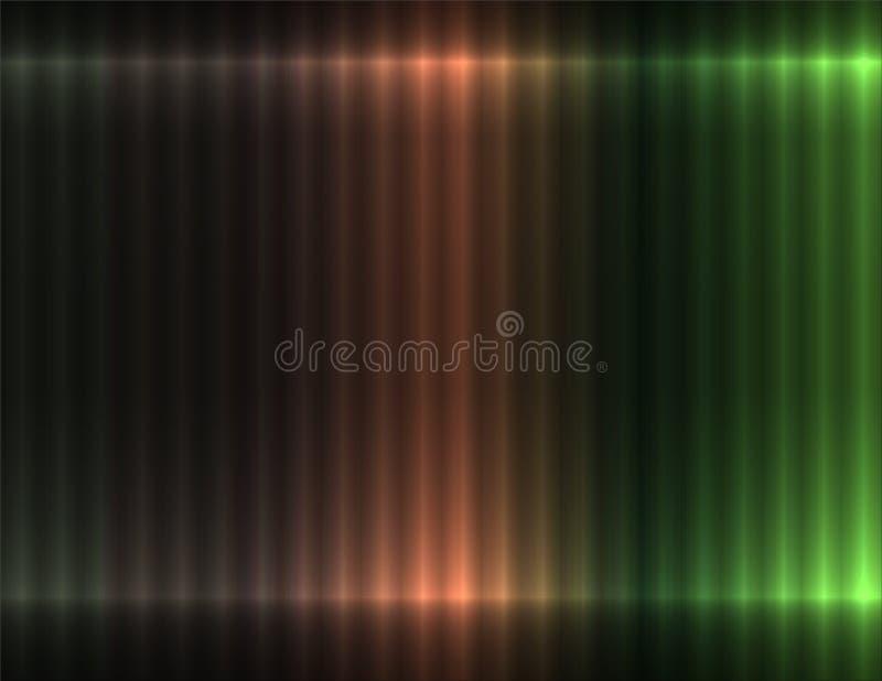 Fondo linear del marrón oscuro y del color verde, efecto de neón ilustración del vector