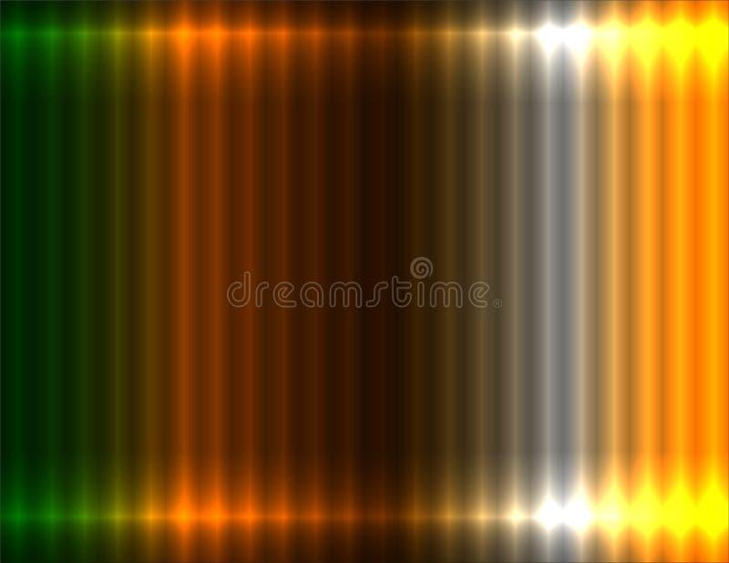 Fondo lineare verde, dell'arancia, marrone, bianca e gialla di pendenza, effetto al neon illustrazione di stock