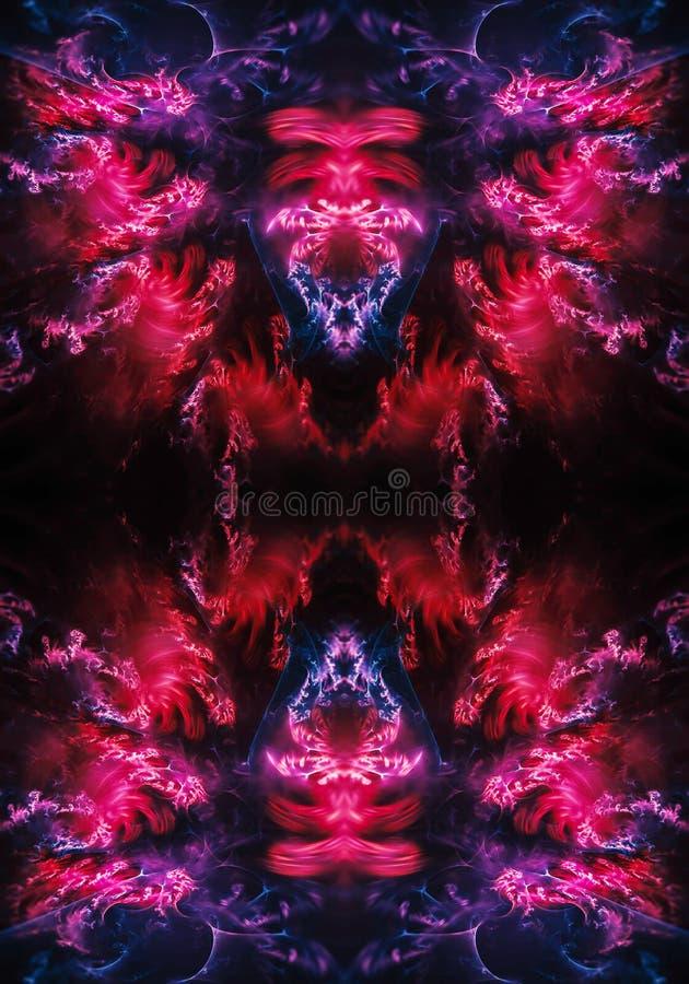 fondo liso enérgico colorido de las ilustraciones de los fractales del extracto moderno único artístico generado por ordenador 3d stock de ilustración