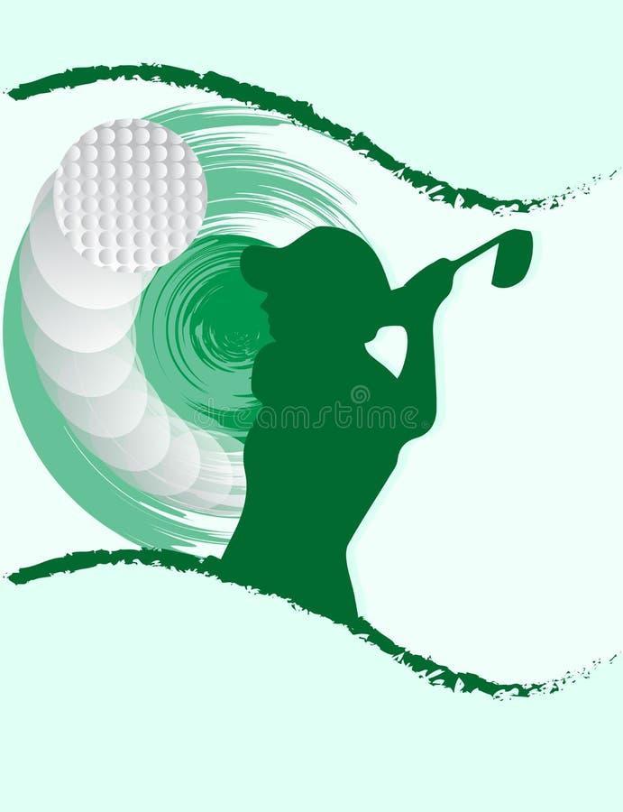 Fondo llamativo de la silueta de la pelota de golf de la mujer ilustración del vector