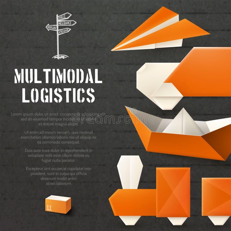 Fondo logistico di origami royalty illustrazione gratis