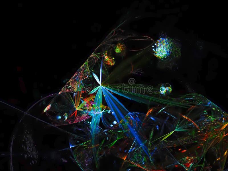 Fondo lucido di lucent di immaginazione della trasparenza di frattale digitale astratto, progettazione dell'insegna immagine stock