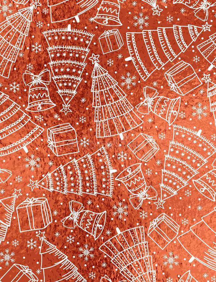 Fondo lucido rosso con i fiocchi di neve, campana, albero, scatola di natale illustrazione di stock