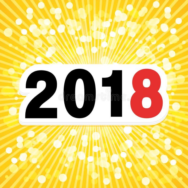 Fondo luminoso del nuovo anno 2018 illustrazione vettoriale