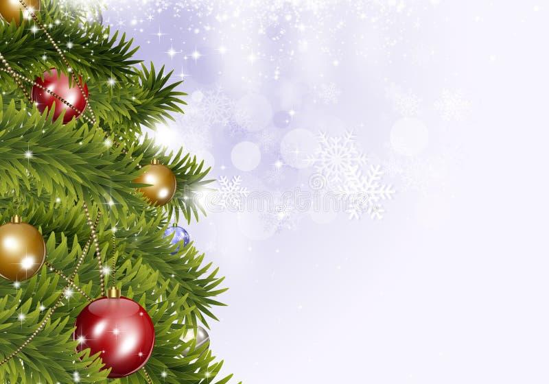 Fondo luminoso dell'albero di natale di festa illustrazione di stock
