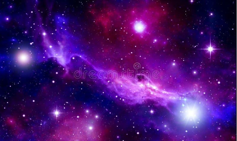 Fondo luminoso dello spazio, stelle, nebulosa, flash, nuvole, blu, rosso, porpora, nere, lustro della stella, cielo stellato, spa illustrazione vettoriale