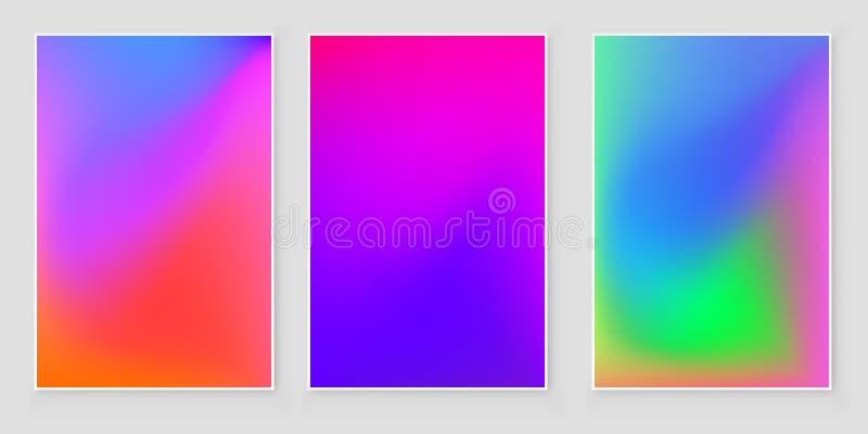Fondo luminoso di pendenza di pendenza di colori Insieme luminoso del fondo di pendenza per le applicazioni mobili illustrazione vettoriale