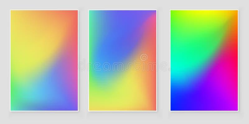 Fondo luminoso di pendenza di pendenza di colori Insieme luminoso del fondo di pendenza per le applicazioni mobili illustrazione di stock