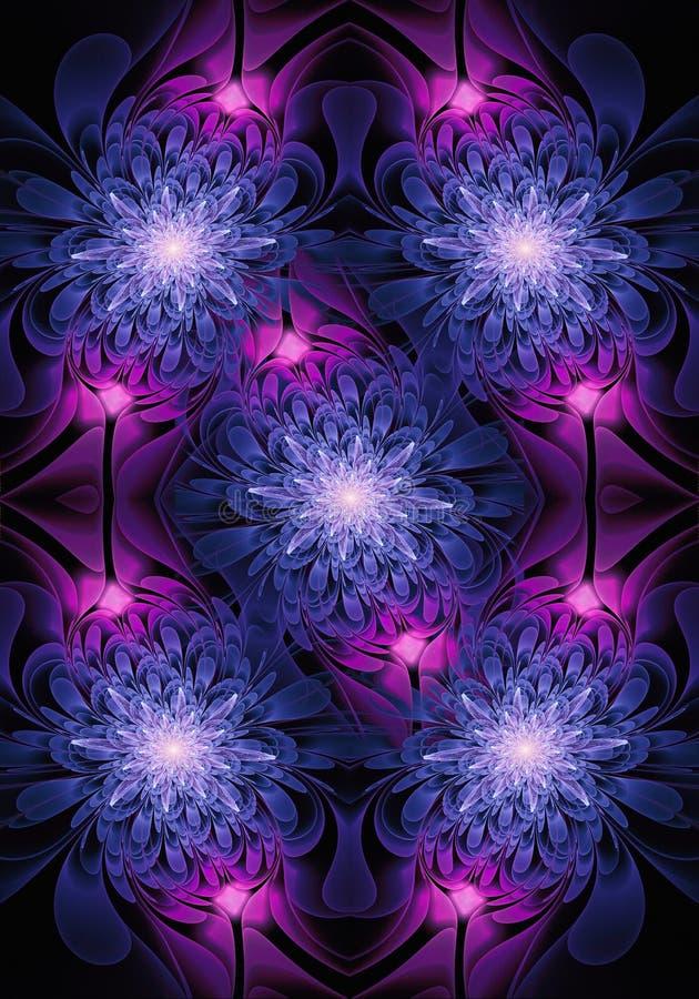 Fondo luminoso generato da computer artistico del materiale illustrativo di frattali delle rose dell'estratto luminoso unico royalty illustrazione gratis