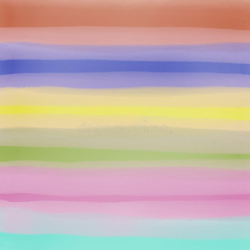 Fondo luminoso multicolore a strisce dell'estratto dell'acquerello disegnato a mano illustrazione vettoriale