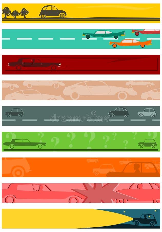 Fondo lungo delle insegne messo con i motivi dell'automobile. illustrazione vettoriale