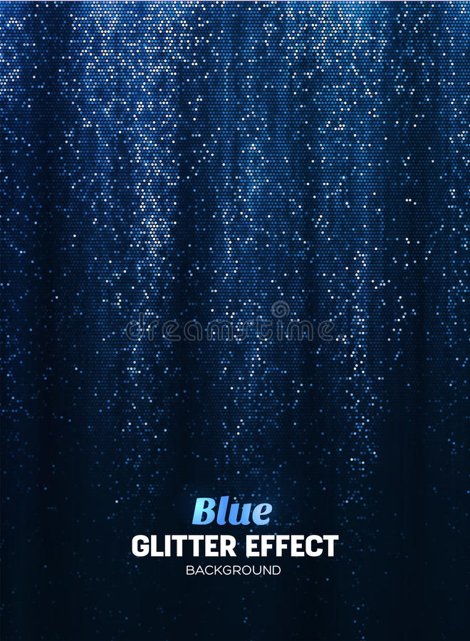 Fondo mágico del brillo en color azul Contexto del cartel con los elementos del brillo ilustración del vector