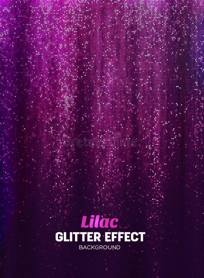 Fondo mágico del brillo en color de la lila Contexto del cartel con los elementos del brillo ilustración del vector