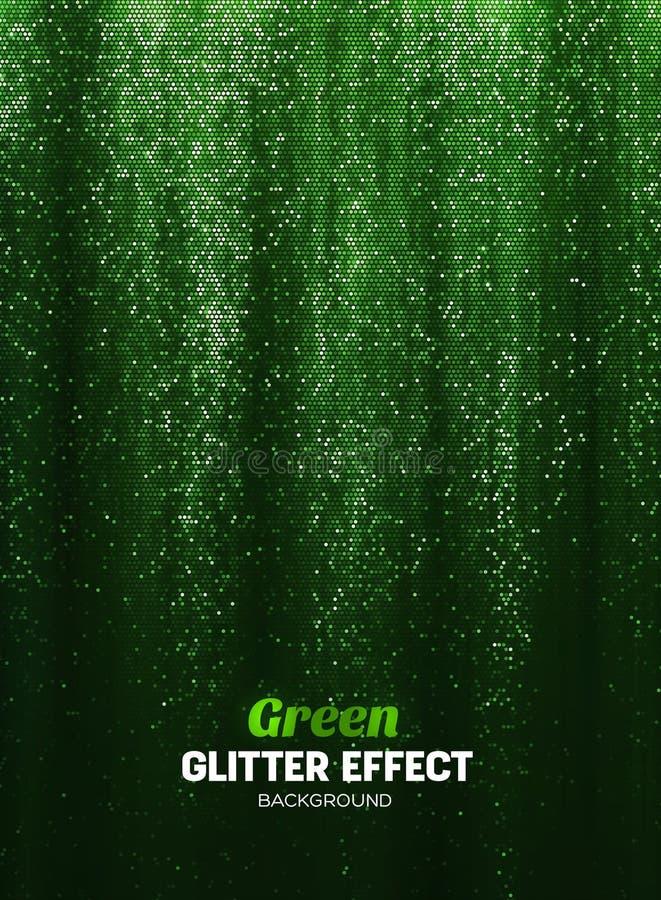 Fondo mágico del brillo en color verde Contexto del cartel con los elementos del brillo libre illustration
