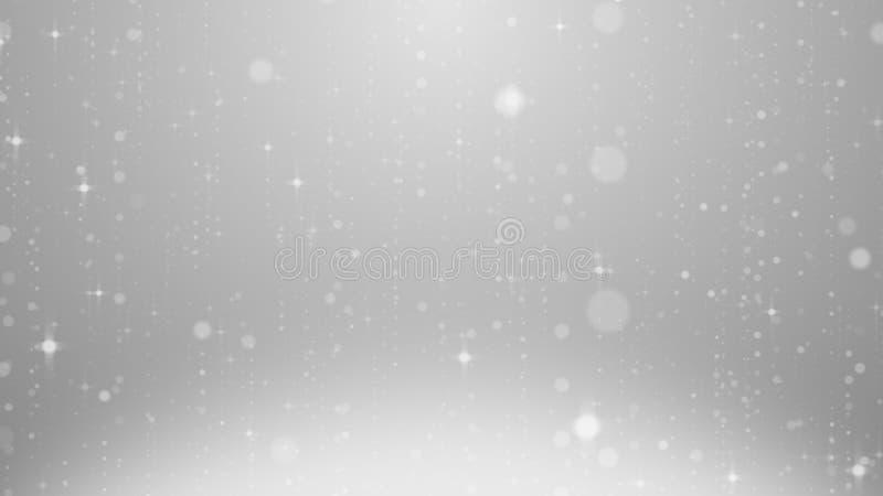 Fondo mágico del momento del brillo del extracto blanco del centelleo, flotación blanca del centelleo, derivando alrededor de lín libre illustration