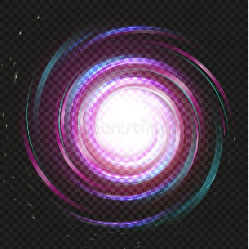 Fondo mágico púrpura espiral de la galaxia Espacio púrpura del remolino brillante en fondo negro Ejemplo del vector de la torment libre illustration