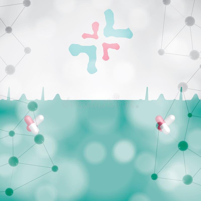 Fondo médico abstracto de la muestra de la farmacia del hospital stock de ilustración