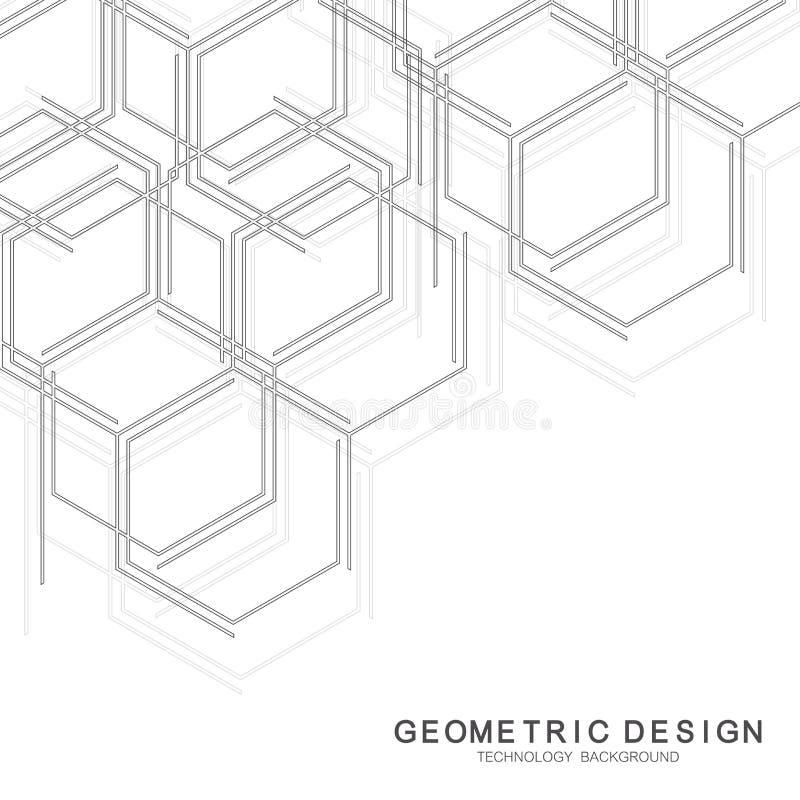 Fondo médico abstracto Investigación de la DNA Molécula de la estructura y fondo hexagonales de la comunicación para la medicina stock de ilustración