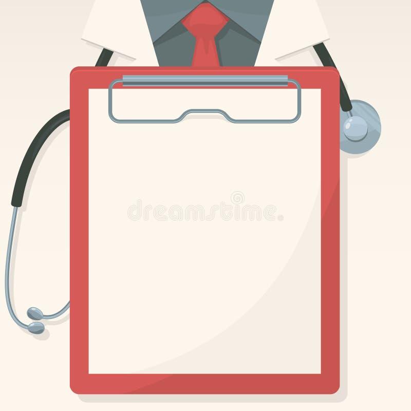 Fondo médico con el tablero y el estetoscopio de registro stock de ilustración