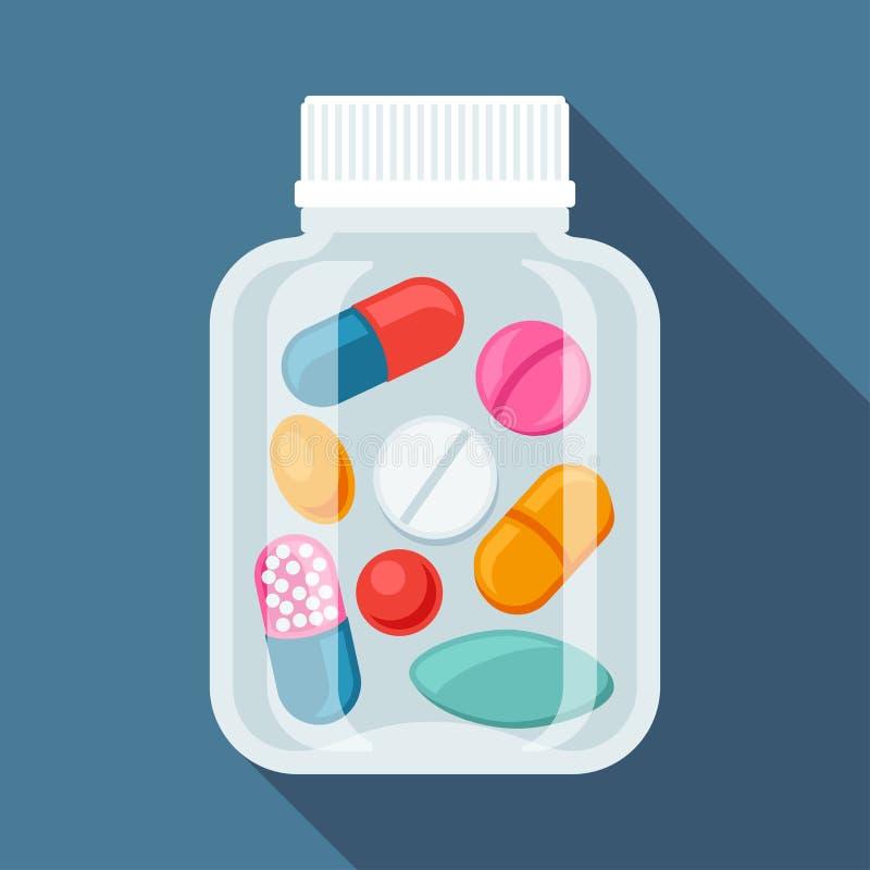 Fondo médico con las píldoras y las cápsulas adentro ilustración del vector