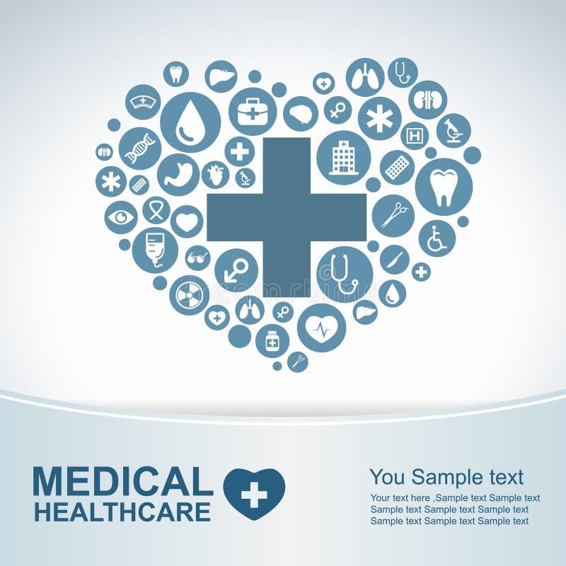 Fondo médico de la atención sanitaria, iconos del círculo a hacer corazón stock de ilustración