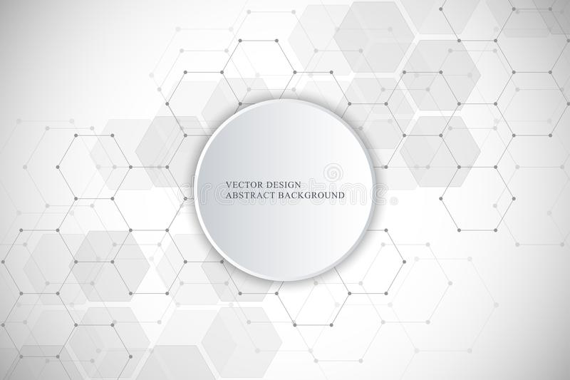 Fondo médico del vector de hexágonos Elementos geométricos del diseño para las comunicaciones modernas, medicina, ciencia y stock de ilustración