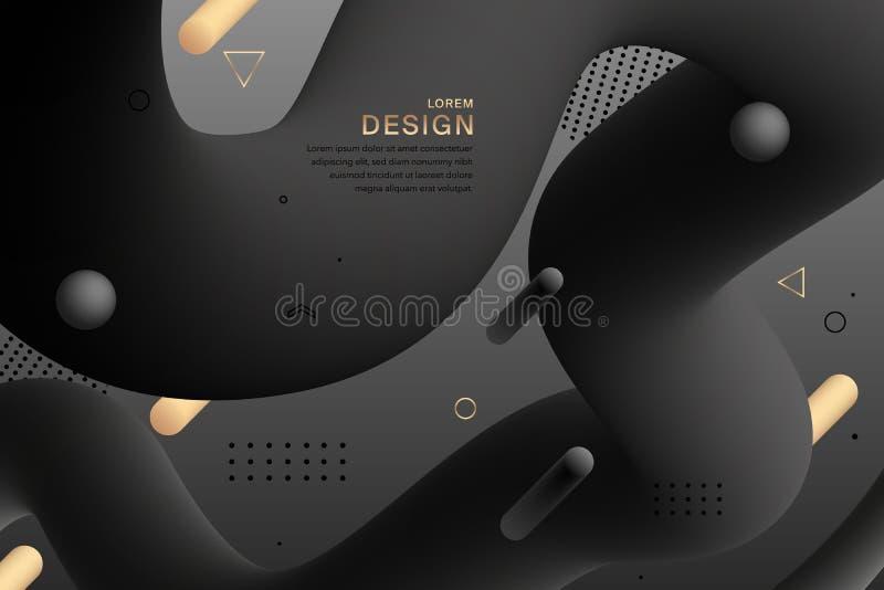 Fondo mínimo ondulado colorido geométrico de la pendiente negra abstracta del diseño Formas fl?idas abstractas Figura l?quida de  libre illustration