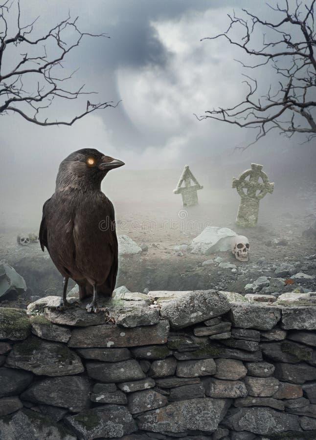 Fondo místico de Halloween con el cuervo en la pared de piedra fotos de archivo