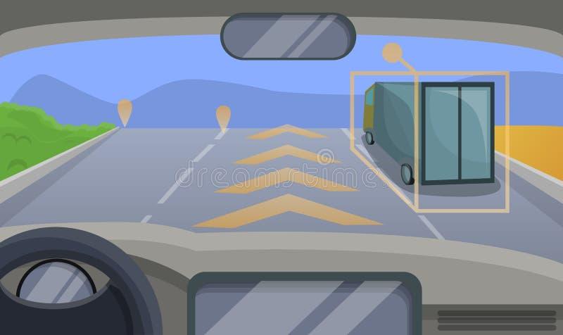Fondo móvil del concepto de la carretera Driverless del coche, estilo de la historieta libre illustration