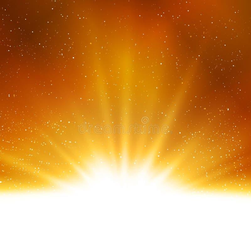 Fondo magico astratto brillante della luce dell'oro di vettore royalty illustrazione gratis