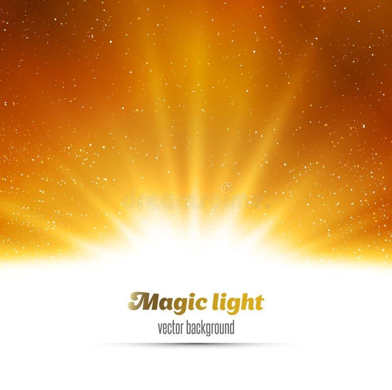Fondo magico astratto della luce dell'oro illustrazione di stock