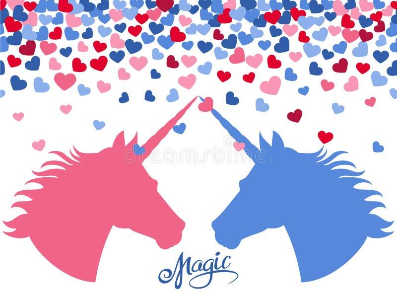 Fondo magico con i cuori di caduta e due unicorni nell'amore illustrazione vettoriale