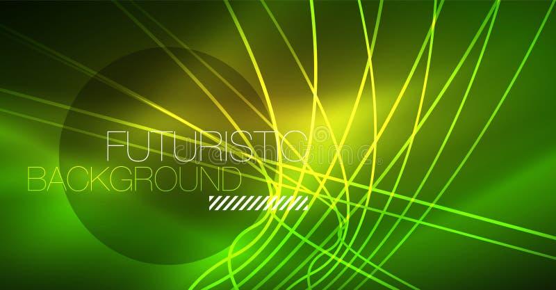 Fondo magico d'ardore al neon, insegna al neon, carta da parati del cielo notturno Effetto della luce magico Modello astratto di  illustrazione di stock