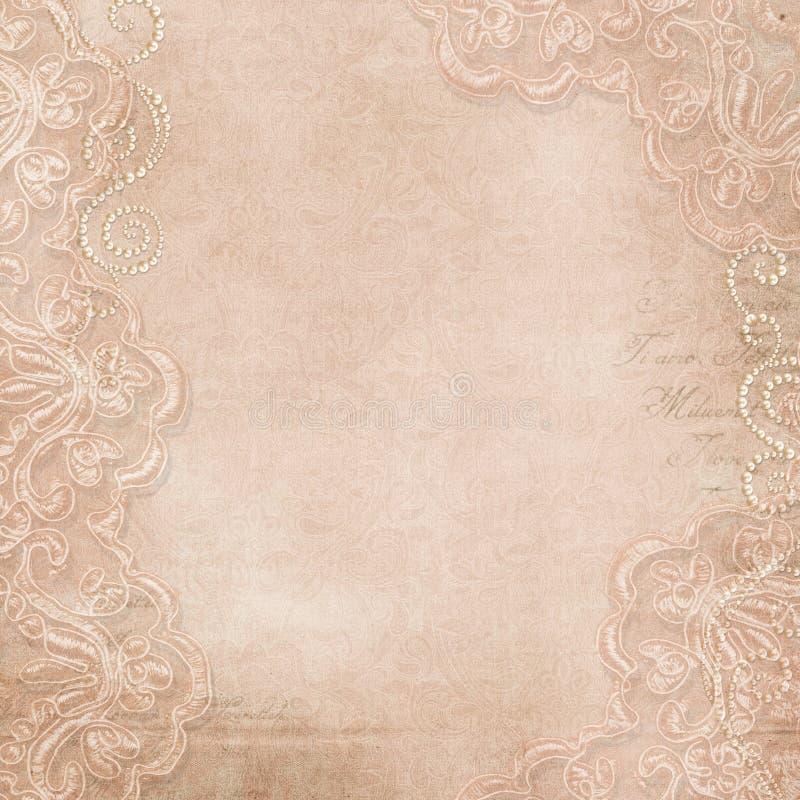 Fondo magnífico del vintage con el cordón y las perlas stock de ilustración